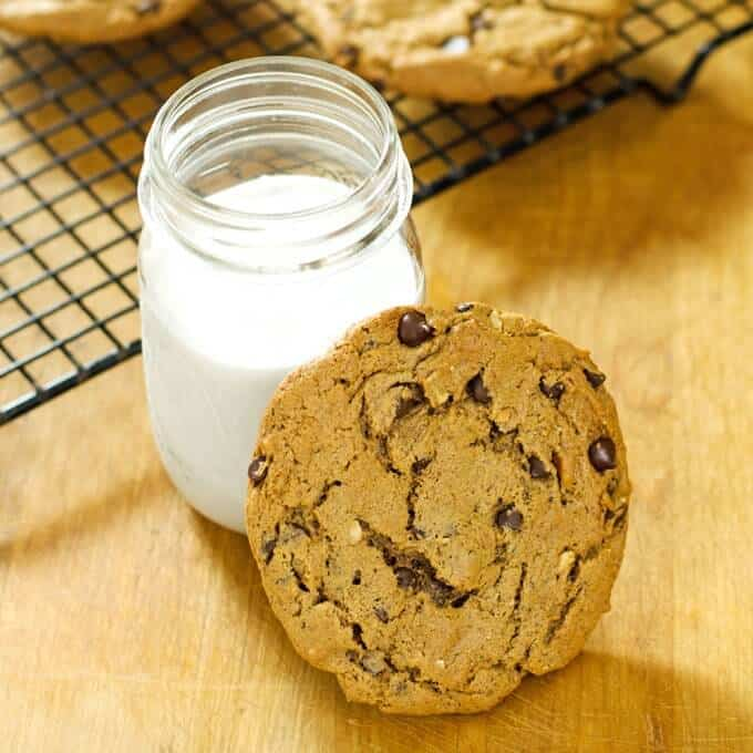 paleo chocolate chip cookies with glass of cashew milk