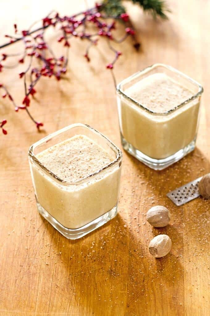 Eggnog protein shake - an easy paleo eggnog smoothie perfect for breakfast or a quick snack. Gluten-free, dairy-free, and refined sugar-free. | Cook Eat Paleo