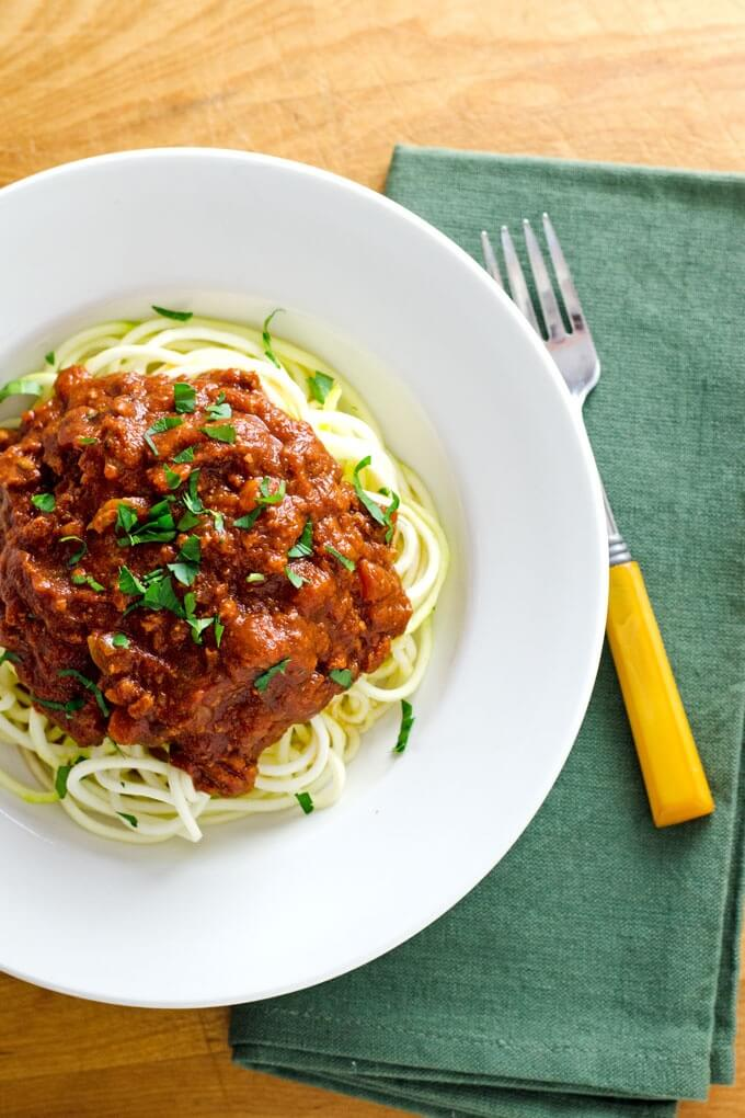 Slow Cooker Turkey Bolognese Sauce over Zucchini Noodles