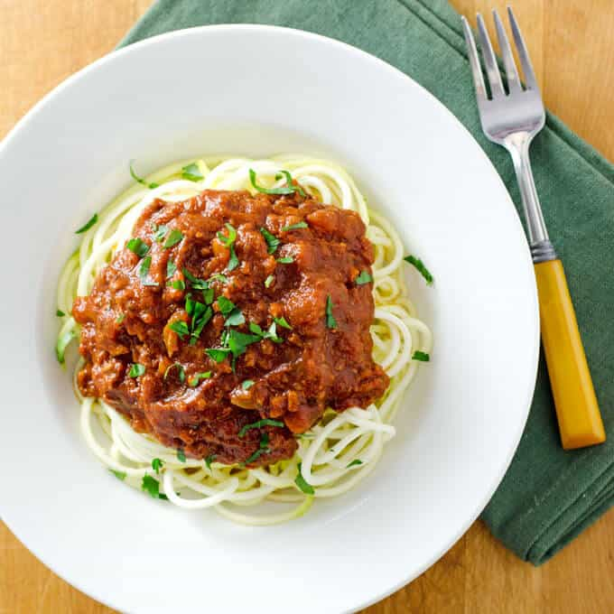 Crock Pot Turkey Bolognese Sauce with Zucchini Noodles - Cook Eat Paleo