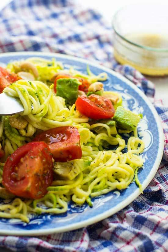 Avocado Zucchini Salad | Spiralized Zucchini Pasta and Veggie Noodle Recipes
