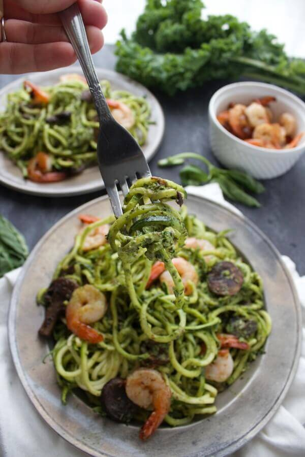 Kale Pesto Zoodles | Easy Zucchini Pasta and Veggie Noodle Recipes