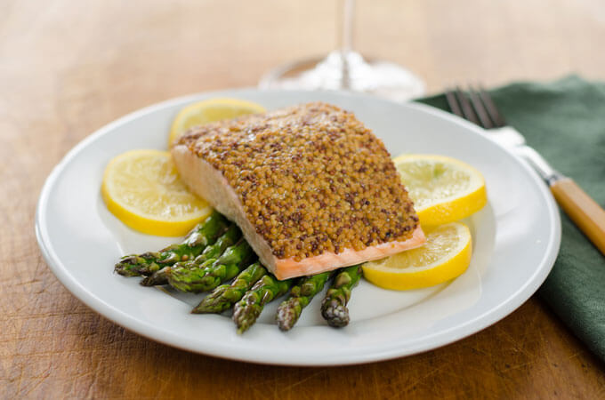 Mustard-Crusted Salmon with Roasted Asparagus | Paleo Recipes for Spring