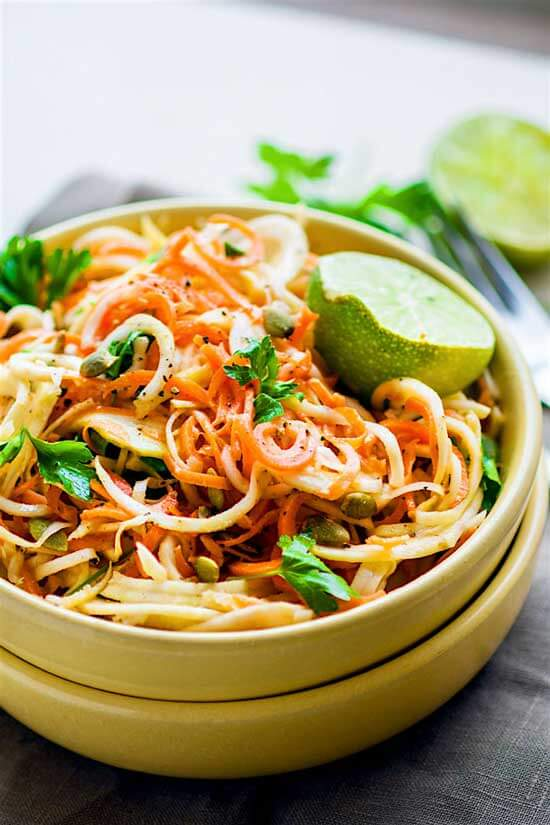 Carrot Celeriac Spiralized Salad | Easy Zucchini Pasta and Veggie Noodle Recipes