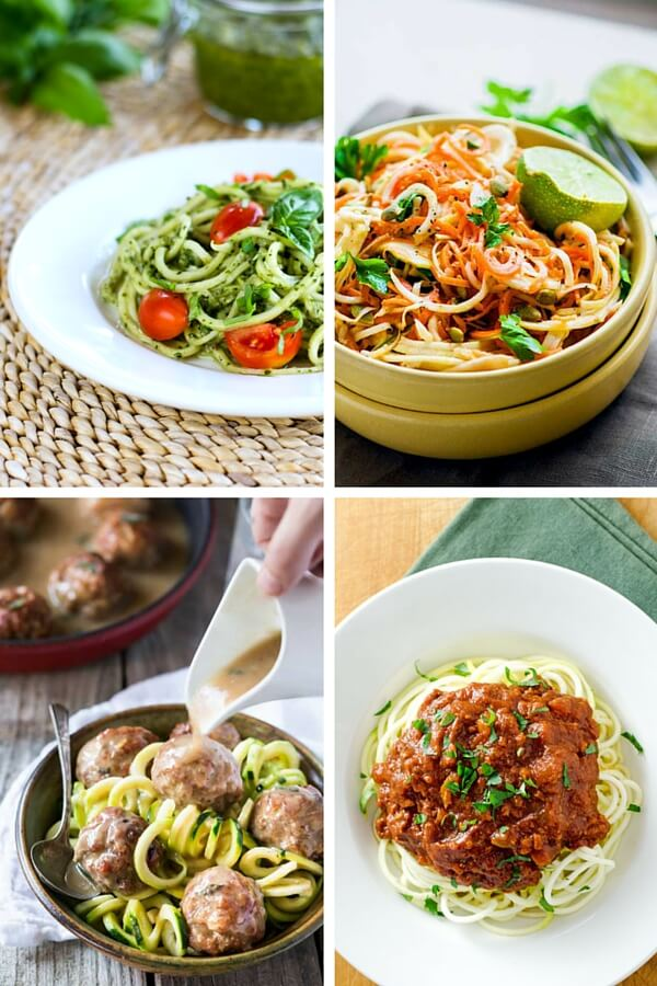 Spiralized zucchini pasta pesto, zoodles and meatballs, spiralized carrot celery root salad, zucchini noodles Bolognese