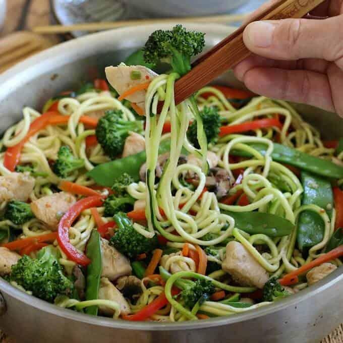 Easy Chicken & Veggie Stir Fry with Zoodles {paleo, gluten-free, grain-free, dairy-free}