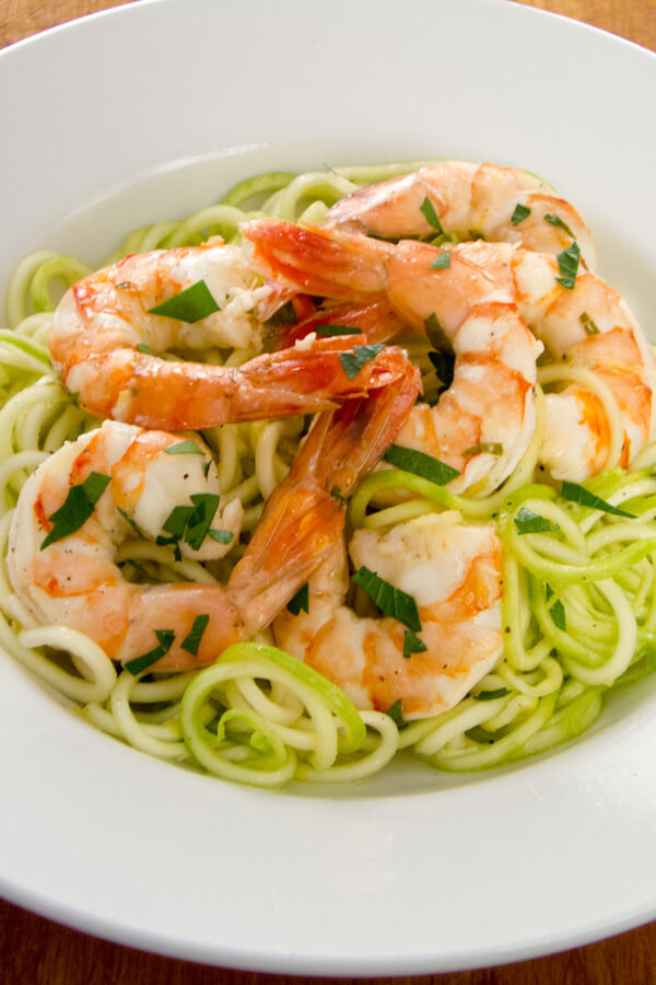 Garlic Roasted Shrimp with Zucchini Pasta - Easy Paleo Weeknight Dinners | Cook Eat Paleo