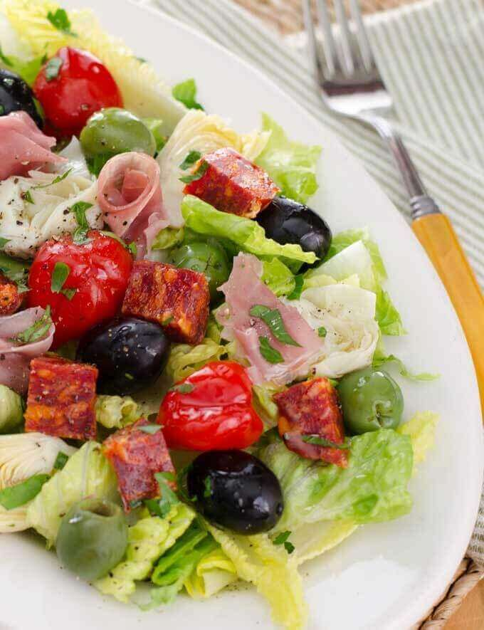 Antipasto Salad with Easy Italian Dressing | Gluten Free Paleo Recipe