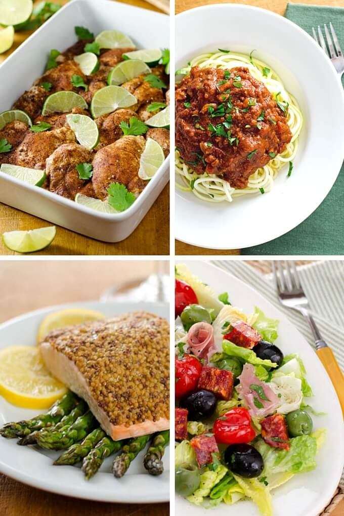 Chicken thighs with chili and lime, slow cooker turkey Bolognese with zucchini noodles, sheet pan salmon and asparagus, antipasto salad