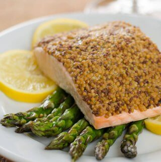 mustard salmon and asparagus