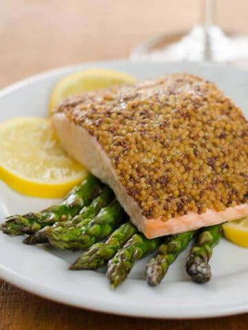 mustard salmon and asparagus
