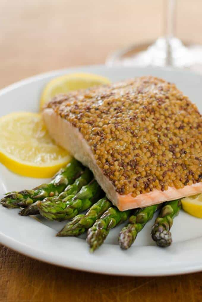 This Mustard Crusted Salmon with Roasted Asparagus a great quick and easy gluten-free, paleo sheet pan dinner that you can have on the table in 15 minutes.