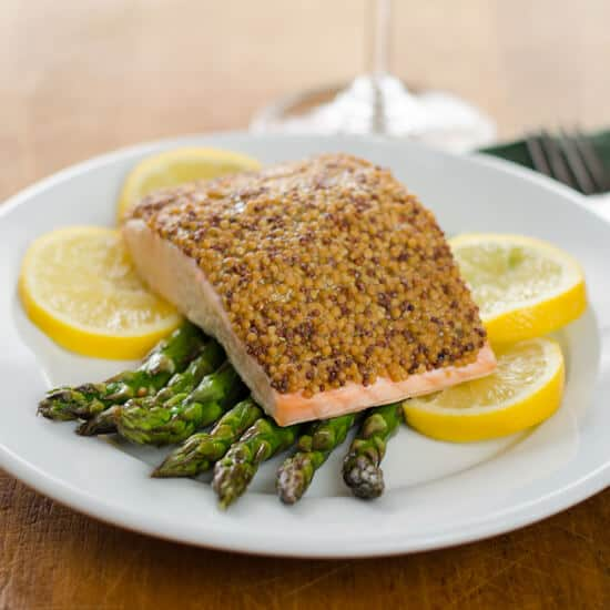 Mustard Baked Salmon with Roasted Asparagus and Lemon