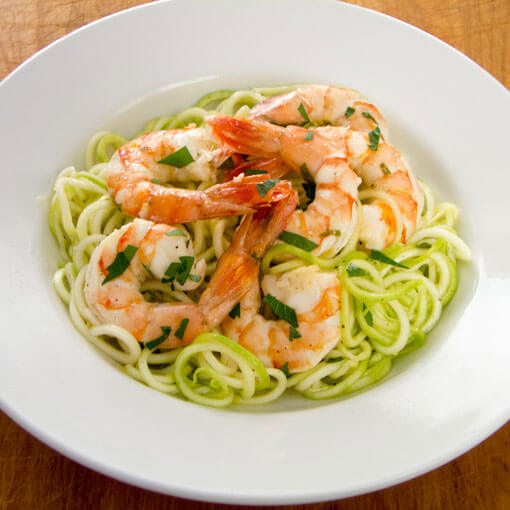 shrimp with zucchini pasta