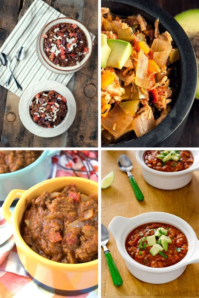 Easy paleo chili recipes for game day—10 different ways to make chili with no beans, gluten or dairy. Includes slow cooker, stove top, and vegan versions. | Cook Eat Paleo