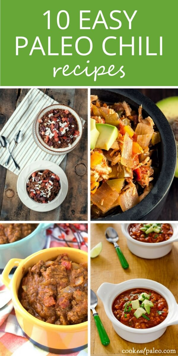 Easy paleo chili recipes for game day—10 different ways to make chili with no beans, that are gluten-free, grain-free, and dairy-free. Easy chili recipes made paleo by replacing beans with...