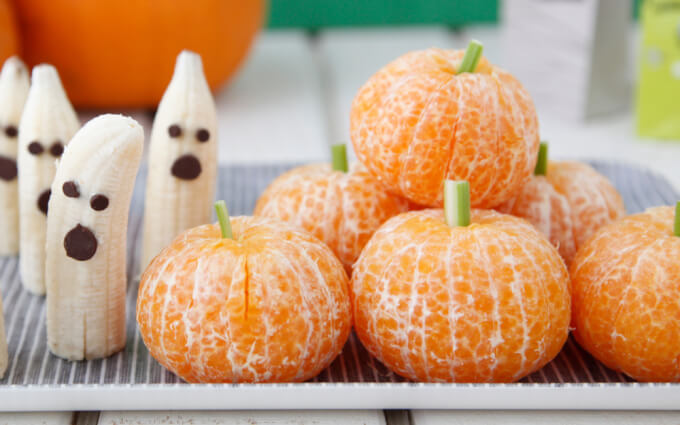 Tangerine Pumpkins and Banana Ghosts – Weelicious | Easy Halloween Treats That Are Gluten and Dairy Free