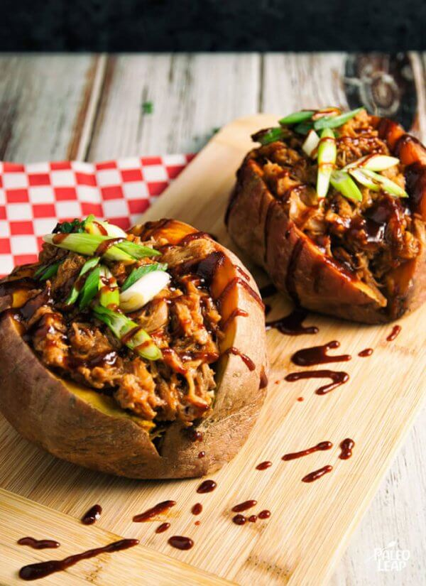 Pulled Pork Stuffed Sweet Potatoes – Paleo Leap  | Easy Paleo Sweet Potato Recipes