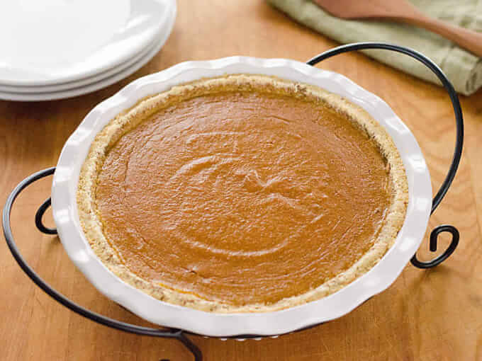Paleo Pumpkin Pie is a quick and easy gluten-free pumpkin pie recipe for fall or Thanksgiving. It's grain-free and refined sugar-free.