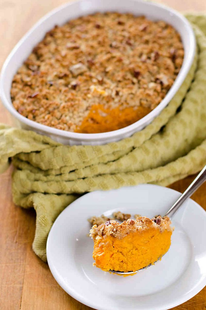 Paleo sweet potato casserole is gluten-free, grain-free and refined sugar-free. A not-too-sweet side dish that goes perfectly with turkey and cranberry sauce. | cookeatpaleo.com