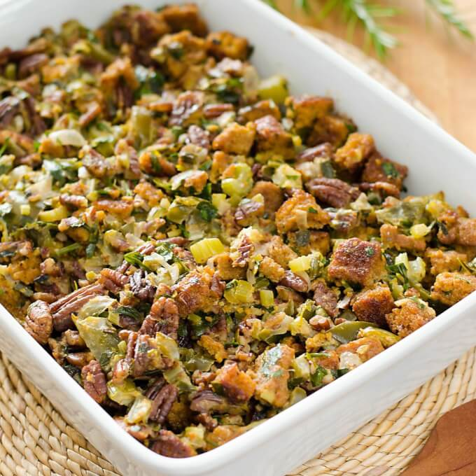 Paleo Cornbread Dressing Recipe - make this gluten-free stuffing for Thanksgiving! | Cook Eat Paleo