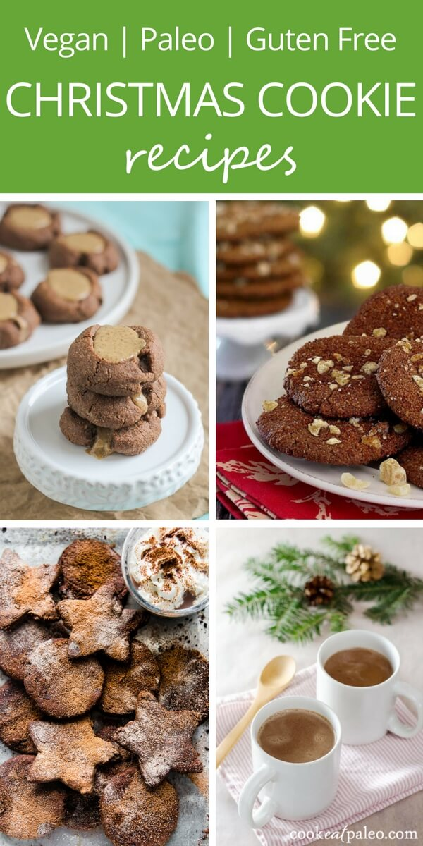 Easy Christmas cookies that are vegan and paleo holiday treats for vegan, paleo, gluten-free, and dairy-free diets. Healthy cookie recipes.