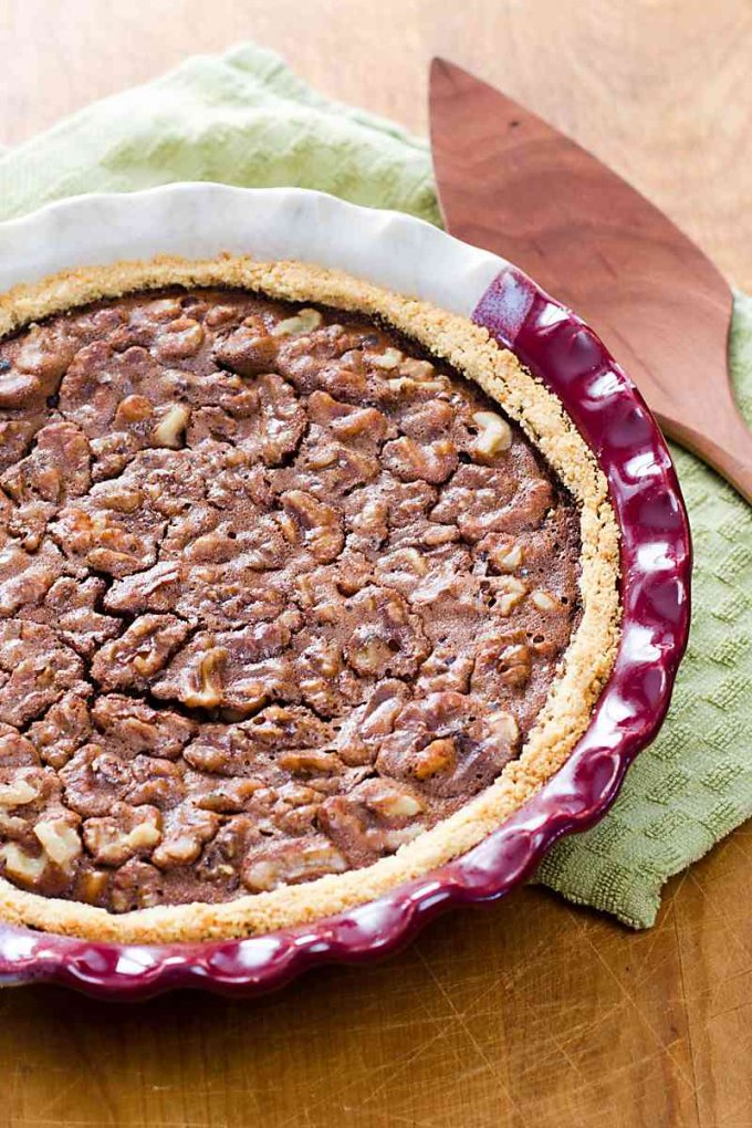 Derby day chocolate pecan pie or chocolate walnut pie that's gluten-free and grain-free.