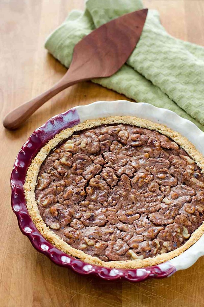 Chocolate walnut pie recipe with a traditional derby day pecan pie variation | gluten-free, grain-free