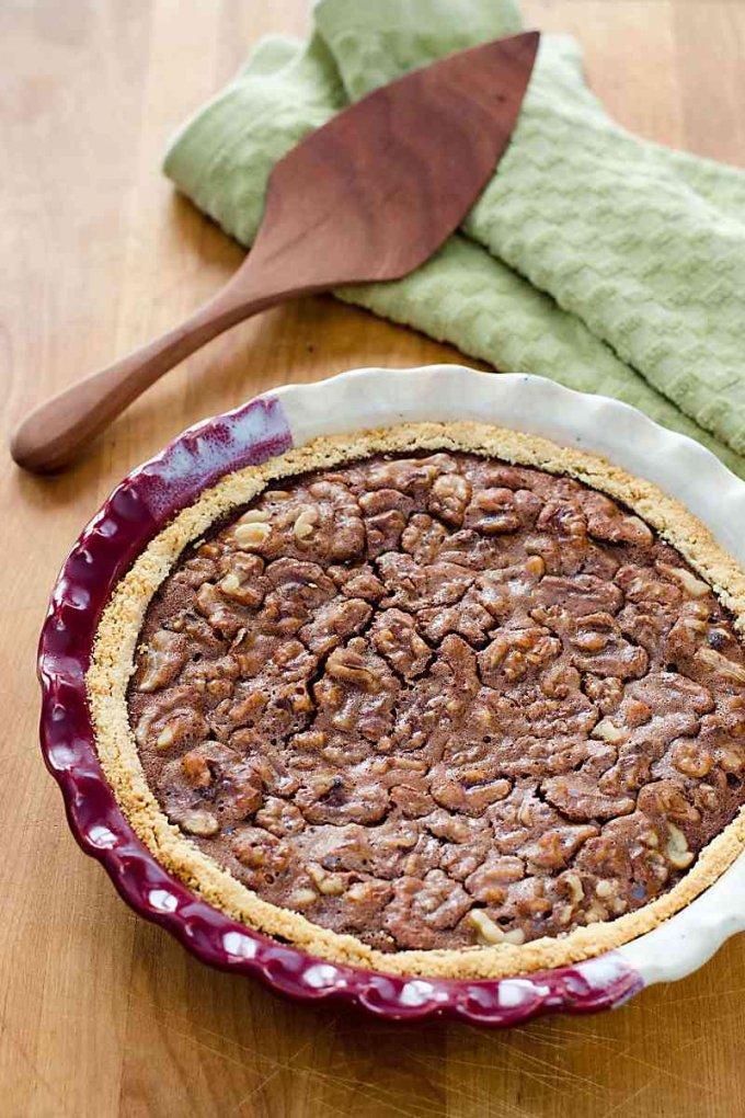 Chocolate walnut pie recipe with a traditional derby day pecan pie variation | gluten-free, grain-free