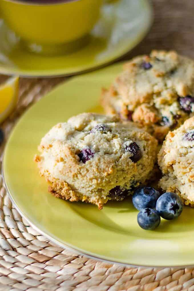 These paleo lemon blueberry scones are gluten-free, grain-free, dairy-free and refined sugar-free. | cookeatpaleo.com