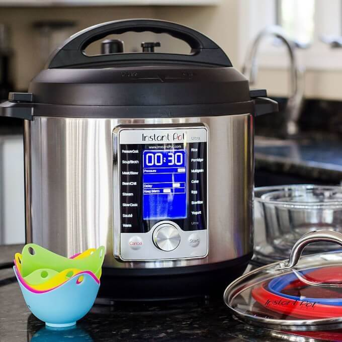 Instant Pot with accessories in kitchen