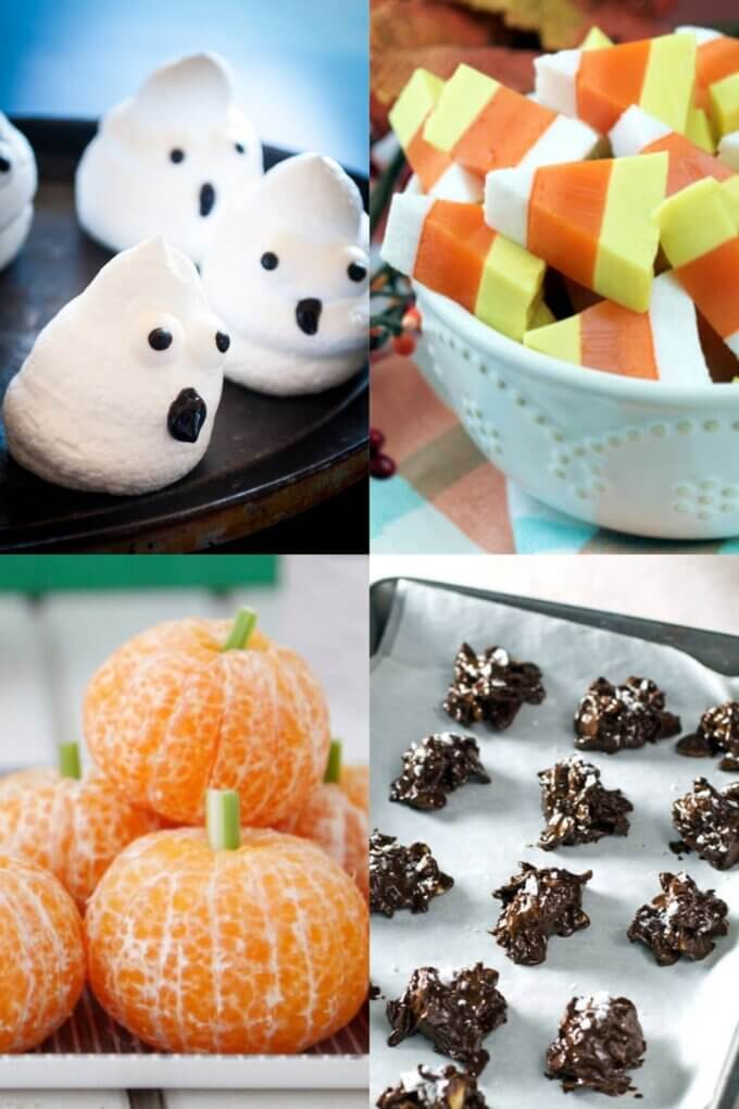 Gluten and dairy-free boo meringues, candy corn, tangerine pumpkins, ghost bananas, and chocolate haystacks