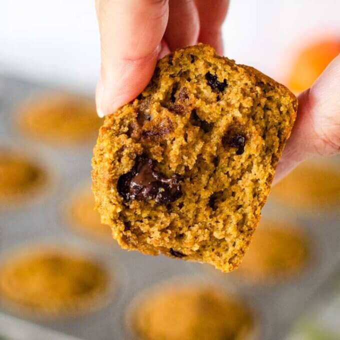 Inside of pumpkin chocolate chip muffin