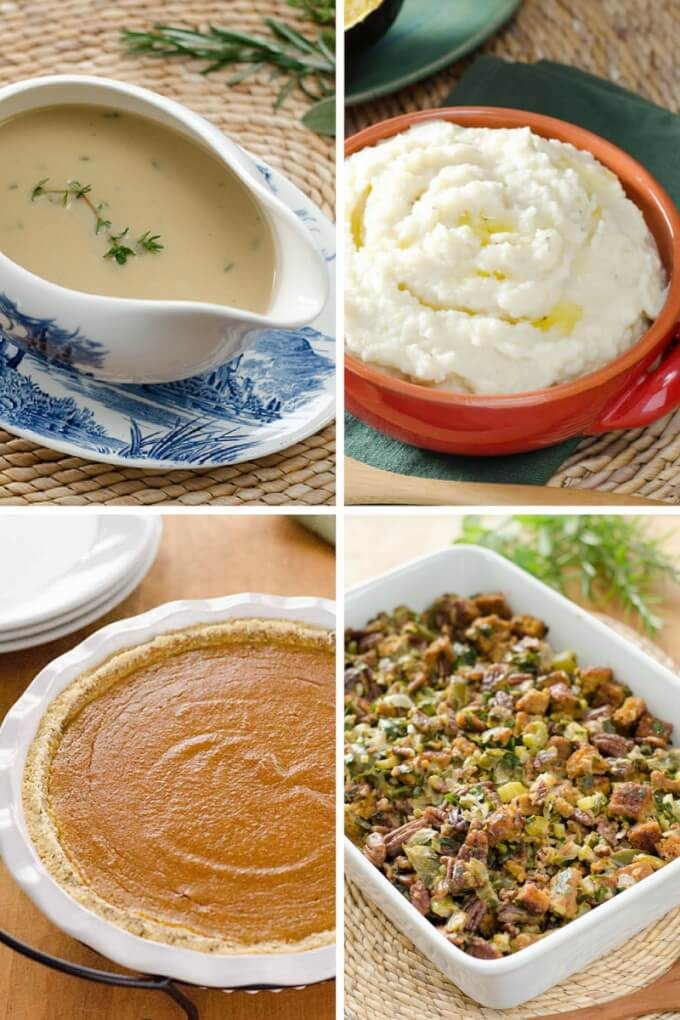 Easy Paleo Thanksgiving Recipes - stuffing, gravy, pumpkin pie, and mashed cauliflower