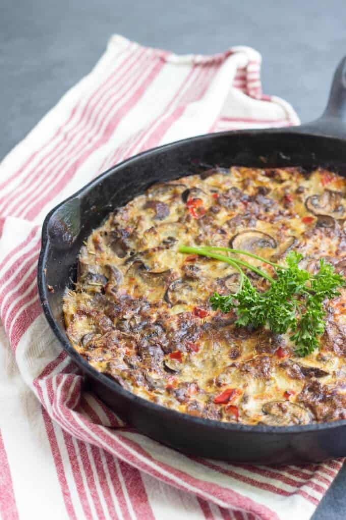 Sausage and Mushroom Frittata in cast iron pan