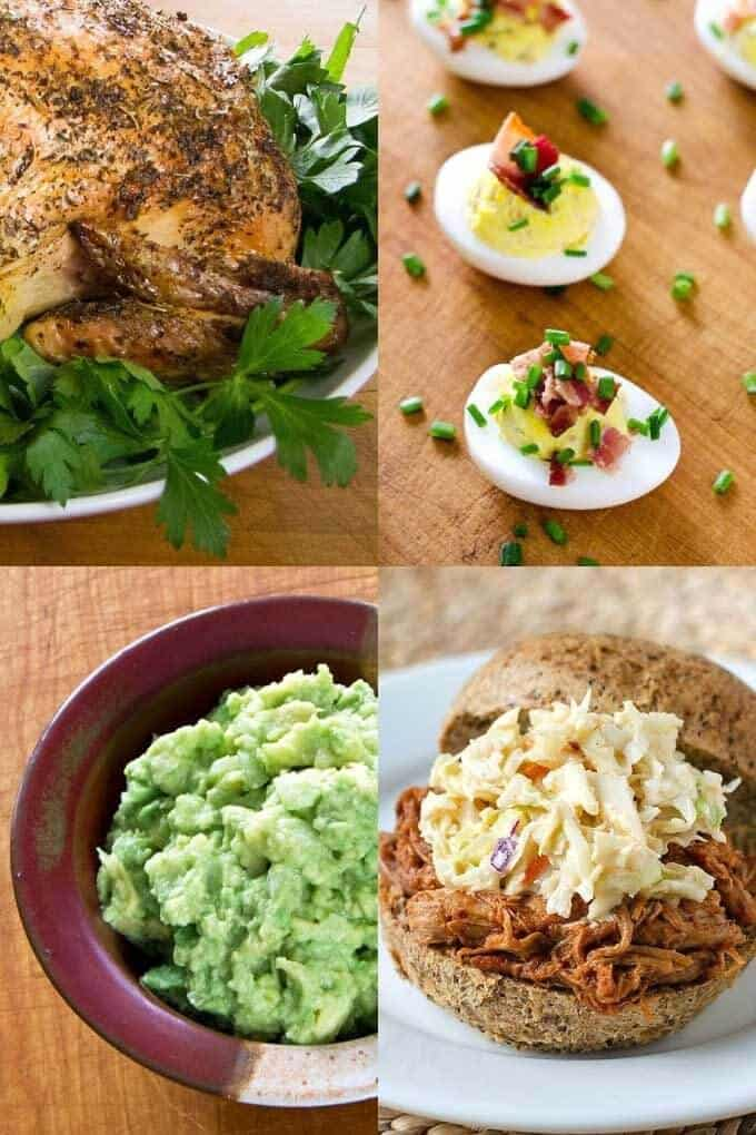 Keto chicken, deviled eggs, guacamole, pulled pork