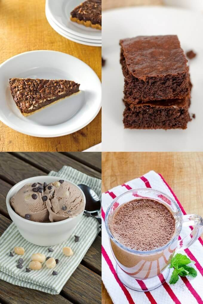 brownies, chocolate chocolate chip ice cream, peppermint mocha smoothie, and chocolate pecan tart collage