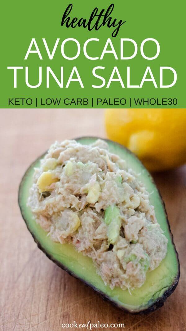 Avocado tuna salad is a quick and easy healthy lunch or snack recipe in 5 minutes with just 4 essential ingredients. Gluten-free, dairy-free, paleo, Whole30 and Keto.
