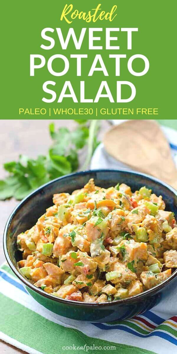 If you're looking for somethingdifferent to bring to your next barbecue, this cold sweet potato salad is amazing! It's naturallysweet from the roasted sweet potatoes with a chipotle lime kick from the easy dressing recipe. This healthy sweet potatosalad is paleo, gluten-free, dairy-free, vegetarian, and Whole30. #cookeatpaleo #sweetpotato #paleodiet #whole30recipes