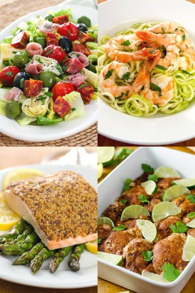 Keto dinner recipes: antipasto salad, garlic shrimp zoodles, baked salmon, and baked chicken thighs