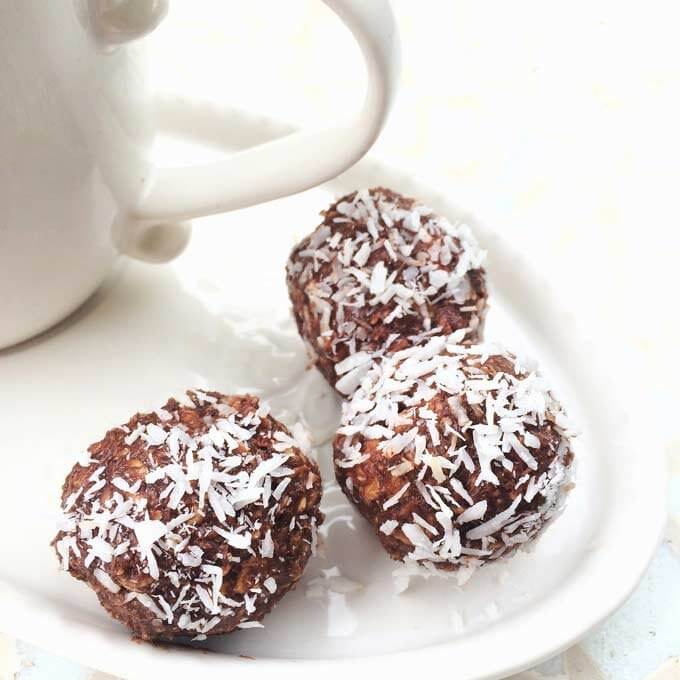 Chocolate keto fat bomb snacks with shredded coconut