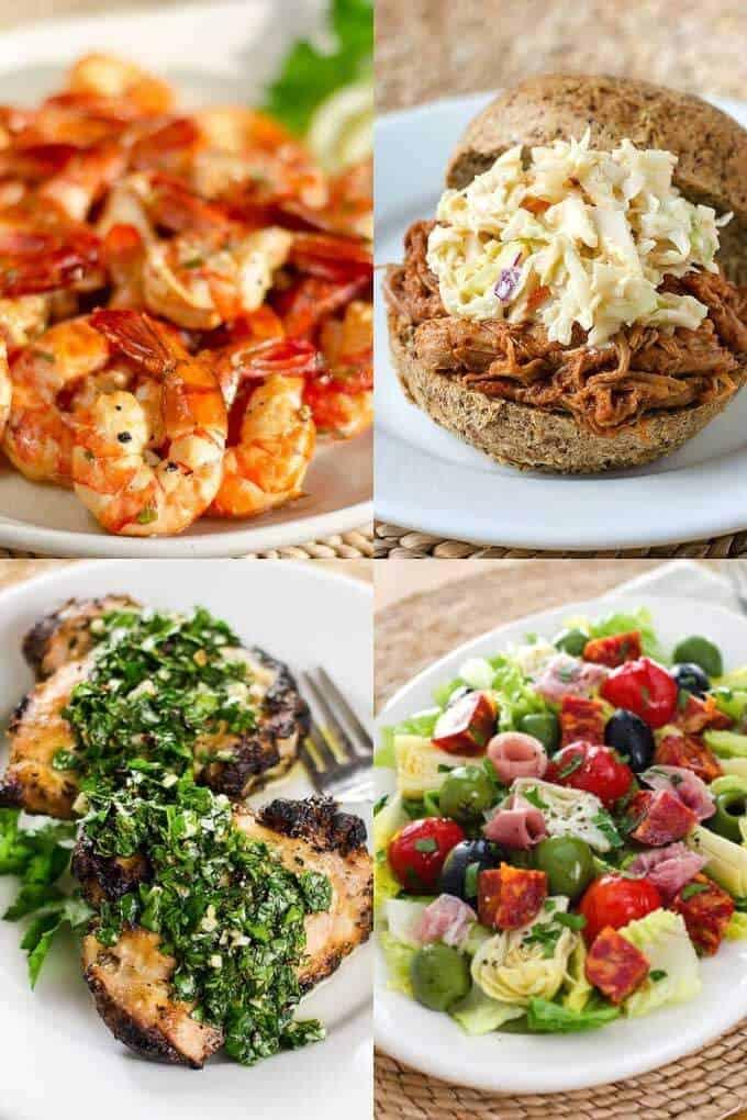 Shrimp, pulled pork, grilled chicken, antipasti salad