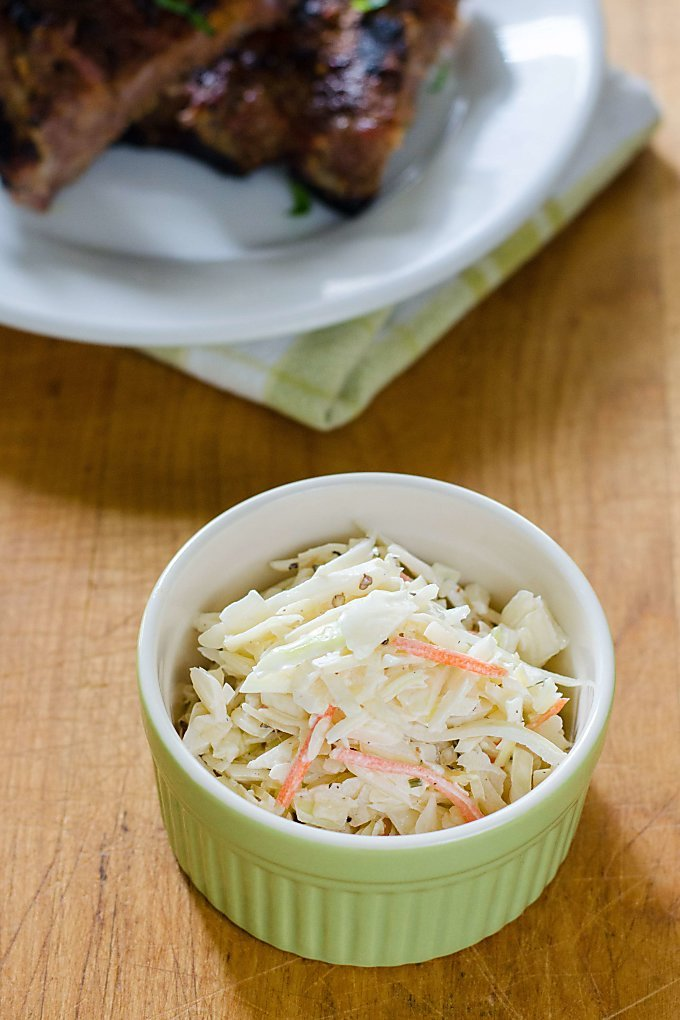 Coleslaw with BBQ ribs