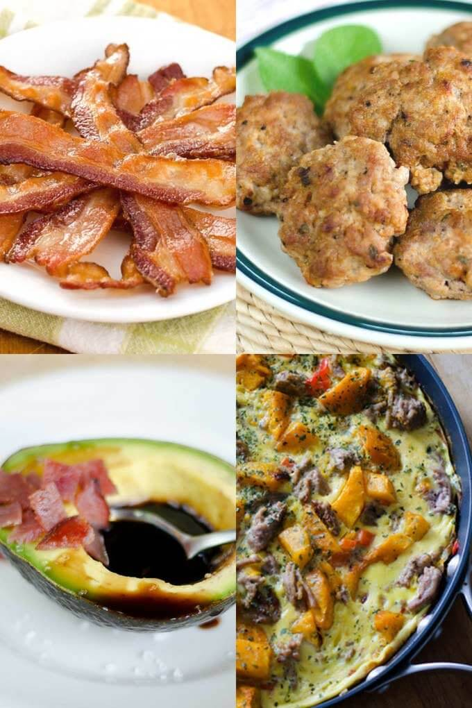 Keto breakfast ideas - bacon, sausage, avocado, frittatta
