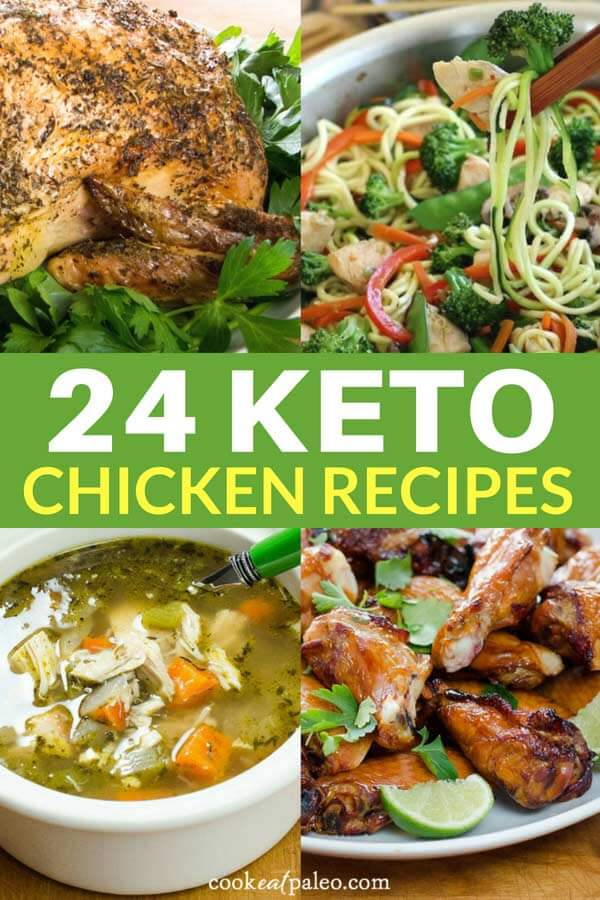 Are you looking for some unique and delicious keto chicken recipes? Here are 24 wonderful low-carb, gluten-free, paleo and keto chicken recipes you can enjoy tonight! These recipes are easy, flavorful and yummy takes on everyone's favorite meat: chicken. #ketorecipes #chickenrecipes #easydinner #cookeatpaleo