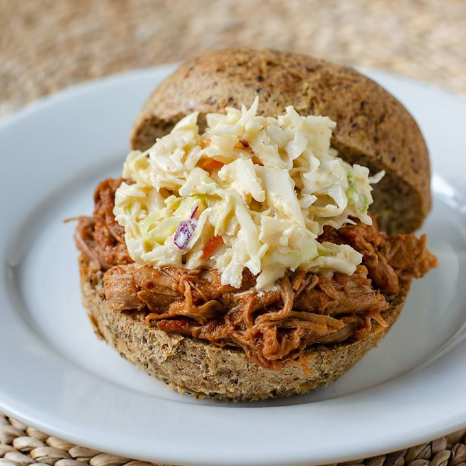 Instant Pot pulled pork sandwich with coleslaw on keto bun
