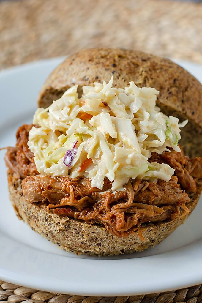Easy keto pulled pork sandwich with coleslaw