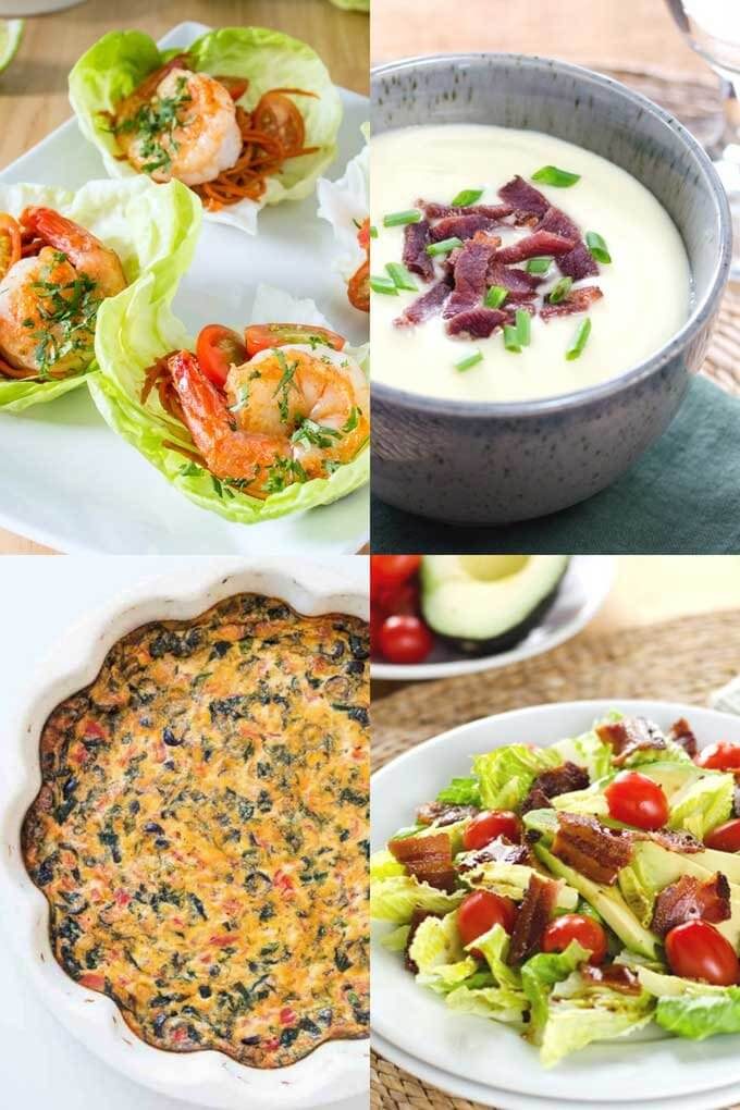 Keto lunches - lettuce cups, soup, quiche, salad