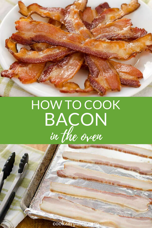 Here's how to cook bacon in the oven. Baked bacon is the best and easiest way to make crispy bacon without the mess! How to make bacon in oven tips and full instructions. #baconinoven #bakedbacon #whole30approved #paleo #ketorecipes #cookeatpaleo