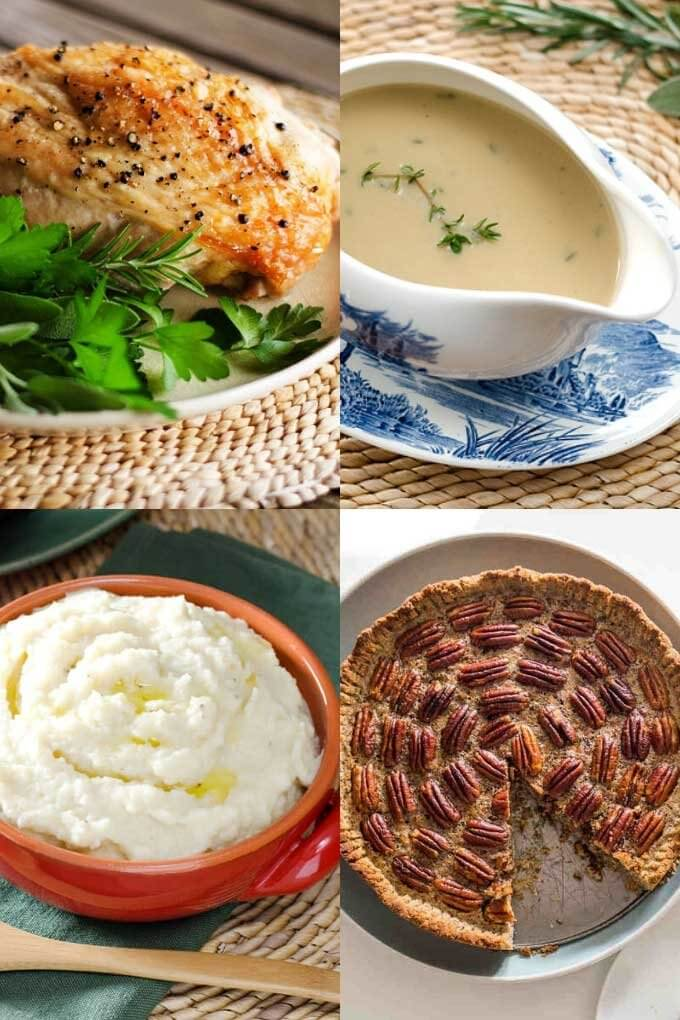 Keto Thanksgiving recipes - roast turkey, flourless gravy, mashed cauliflower, keto pecan pie